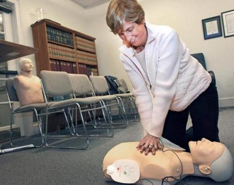 Sharon Bonica, administrative assistant for the Board of Health in Weston, tried CPR during a training session for people interested in joining the Medical Reserve Corps.